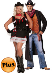 Plus Size Dirty Desperado Cowgirl and Plus Size Gunslinger Couples Costumes