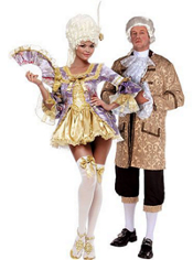Sexy Marie Antoinette and Colonial Man Couples Costumes