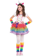 Girls Rainbow Unicorn Costume