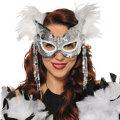 Snowflake Venetian Feather Mardi Gras Mask