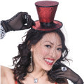 Mini Red Glitter Top Hat with Veil