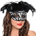 Zebra Stripe Feather Mask Adult